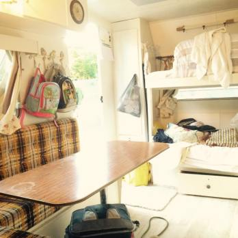 Inside Frankie the caravan