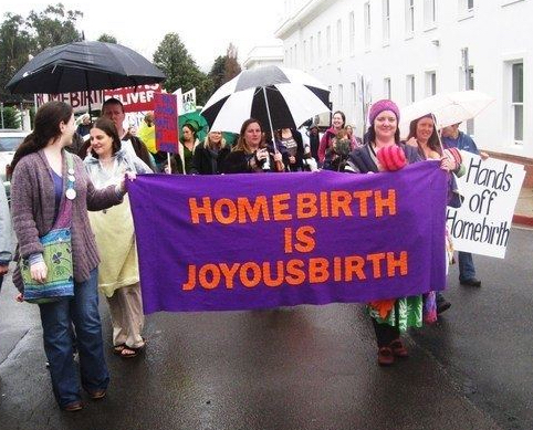 Homebirth rally, Parliament House, Canberra, Australia